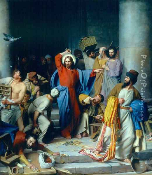 Casting out the Money Changers Oil Painting - Carl Heinrich Bloch