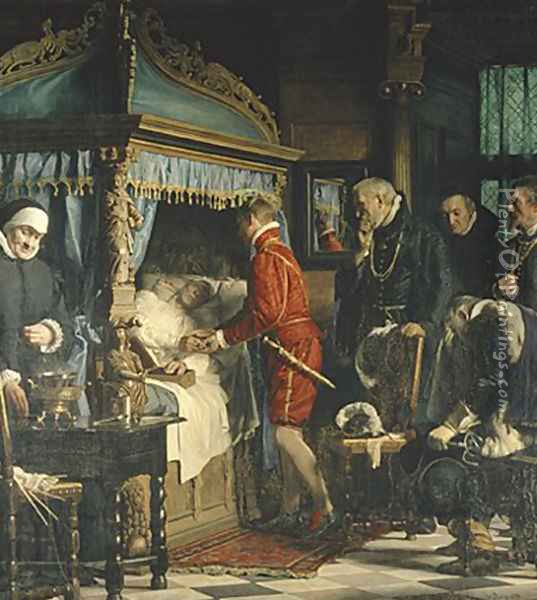 Chancellor Niels Kaas handing over the keys to Christian IV Oil Painting - Carl Heinrich Bloch