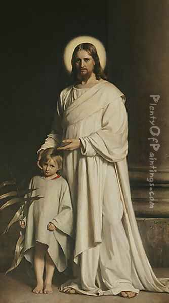 Christ and a Boy Oil Painting - Carl Heinrich Bloch