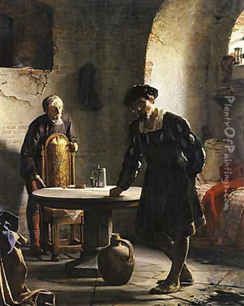 The Imprisoned Danish King Christian II Oil Painting - Carl Heinrich Bloch