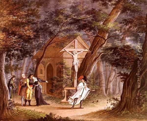Ritter Seine Geliebte Verlassend (Knight Taking Leave Of A Loved One) Oil Painting - Carl Philipp Fohr