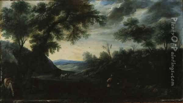 A wooded Landscape with Figures and a horse-drawn Carriage on a Path Oil Painting - Carlo Antonio Procaccini