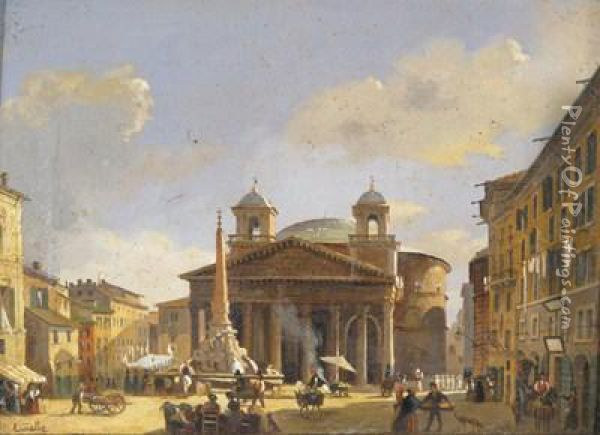 The Coliseum, Rome; The Pantheon, Rome Oil Painting - Carlo Canella