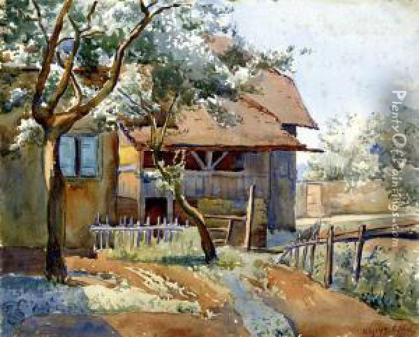 Haus In Pully Oil Painting - Carlos Schneider