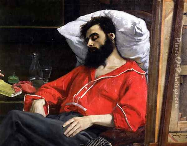 The Convalescent, or The Wounded Man (detail cut by the artist from 'The Visit to the Convalescent') c.1860 Oil Painting - Carolus (Charles Auguste Emile) Duran