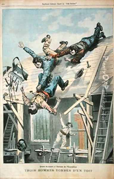 Three men falling from a roof Oil Painting - Carrey