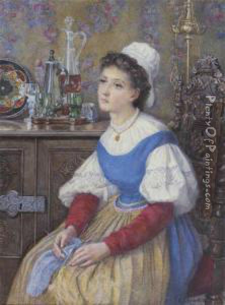 Femme Assise Cousant Oil Painting - Catherine Adelaide Sparkes