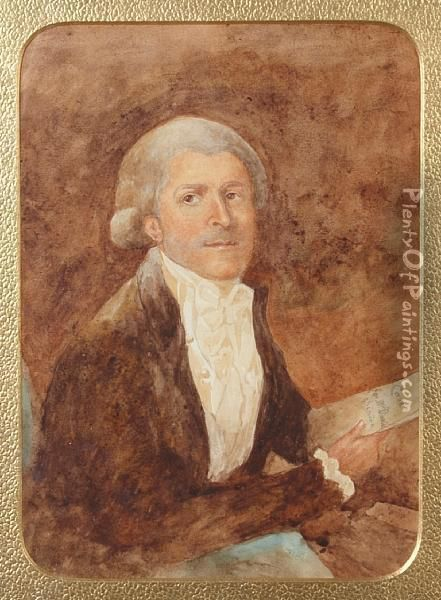 A Portrait Of Thomas Henry Davies, Advocate General At Calcutta Oil Painting - Catherine Davis