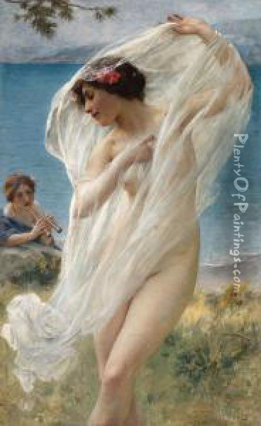 A Dance By The Sea Oil Painting - Charles Amable Lenoir