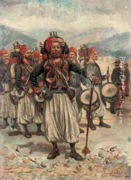 North African Troops Oil Painting - Charles Amable Lenoir
