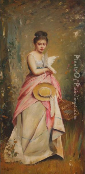 Woman With A Dove Oil Painting - Charles Amable Lenoir