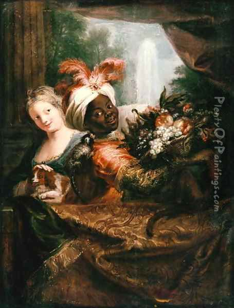 Young Black Man Holding a Basket of Fruit and a Young Girl Stroking a Dog Oil Painting - Charles-Antoine Coypel