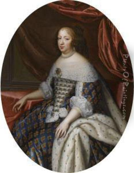 Portrait Of Anne Of Austria Oil Painting - Charles Beaubrun
