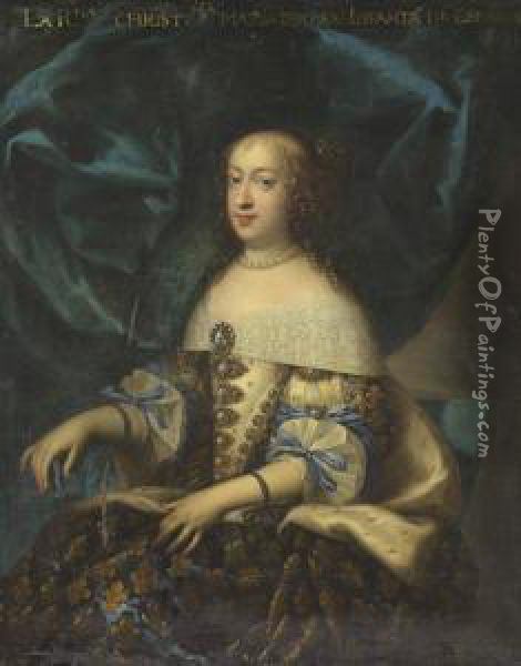 Portrait Of The Maria Theresa, Queen Of France (1638-1683) Oil Painting - Charles Beaubrun