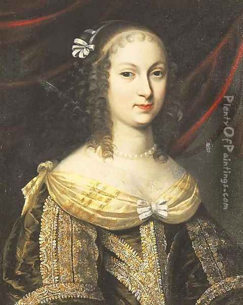 Portrait of a lady, said to be Madame de Longuevuille Oil Painting - Charles Beaubrun