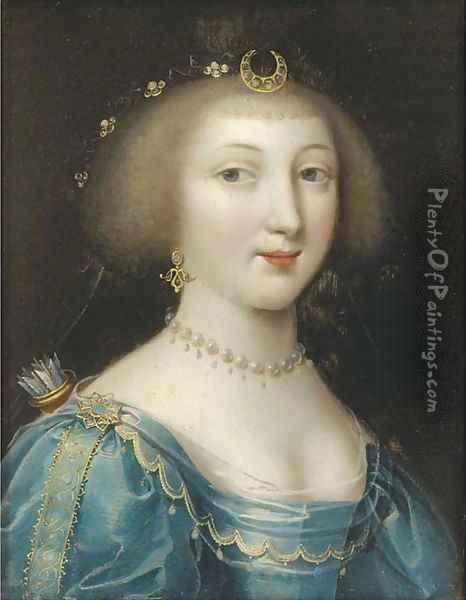 Portrait of a lady as Diana Oil Painting - Charles Beaubrun