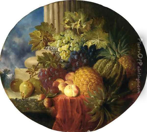 Still Life with Pineapple and Grapes Oil Painting - Charles Caryl Coleman