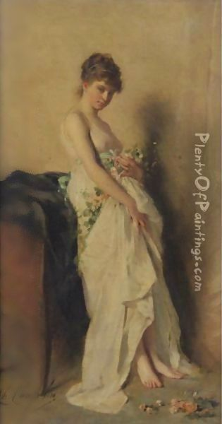 Girl With Garland Of Flowers Oil Painting - Charles Chaplin