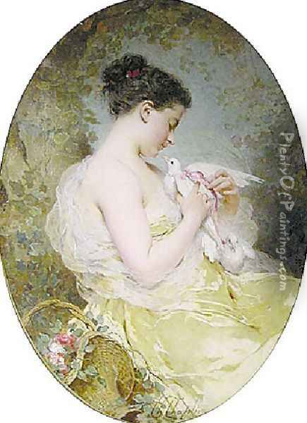 Jeune fille à la colombe (Young Girl with a Dove) Oil Painting - Charles Chaplin