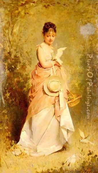 La Jeune Fille Aux Colombes (Girl with Doves) Oil Painting - Charles Chaplin