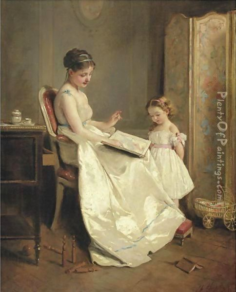 The Lesson Oil Painting - Charles Chaplin