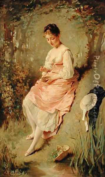 Young Girl with a Nest, late 1860s Oil Painting - Charles Chaplin