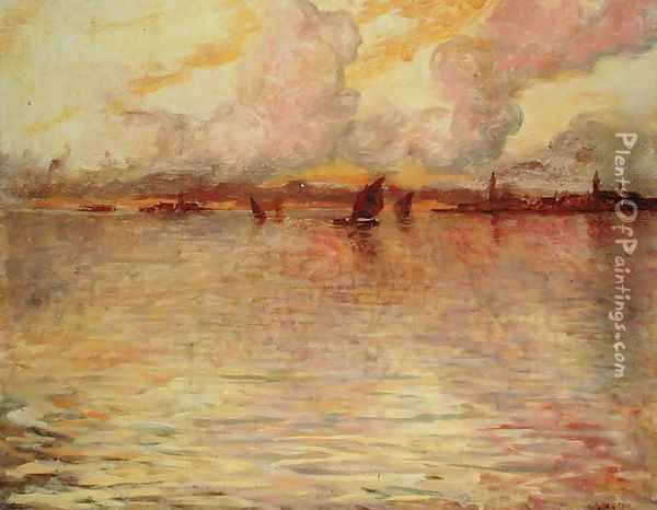 Seascape with Distant View of Venice, 1896 Oil Painting - Charles Cottet