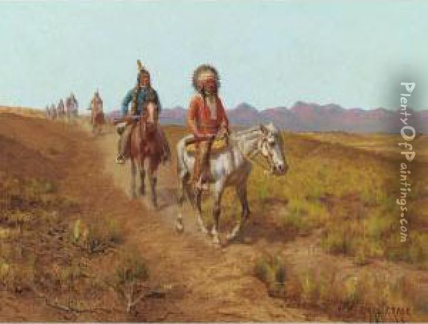 Indians On Horses Riding Along A Trail Oil Painting - Charles Craig