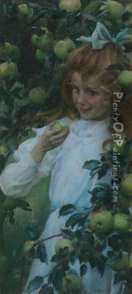 In The Orchard Oil Painting - Charles Curran