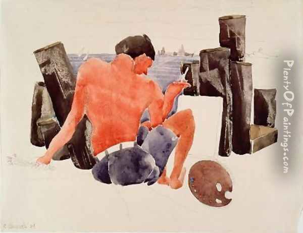The Artist on the Beach at Provincetown Oil Painting - Charles Demuth