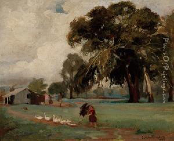 Walking The Geese Oil Painting - Charles Douglas Richardson