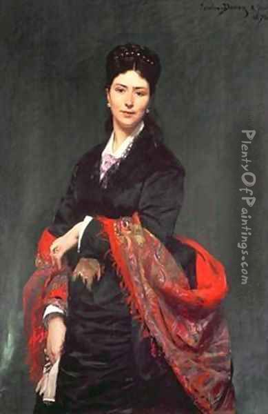 Portrait of Mrs Marie Clerc Oil Painting - Charles Emile Auguste Carolus-Duran
