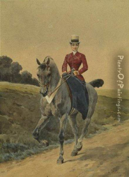 Cavaliere Oil Painting - Charles Fernand de Condamy