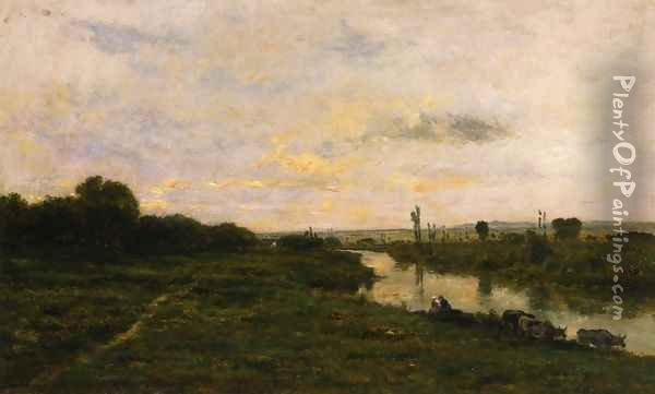 Cows on the Banks of the Seine, at Conflans Oil Painting - Charles-Francois Daubigny