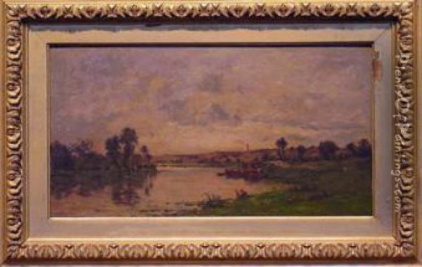 Washer Women On The Banks Of A River Oil Painting - Charles-Francois Daubigny