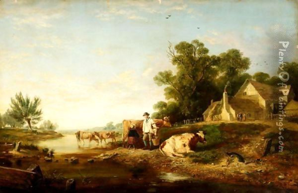 Milking Time Oil Painting - Charles Hunt
