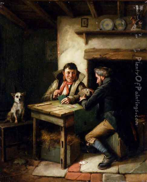 The Card Players Oil Painting - Charles Hunt