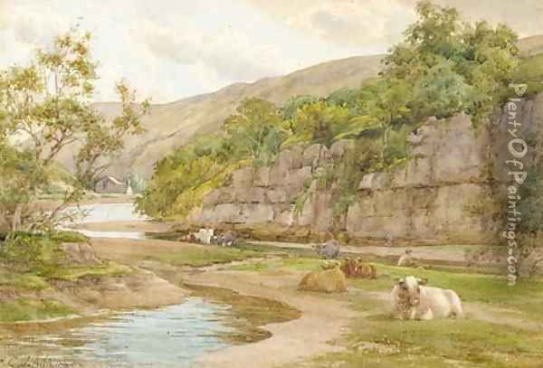 Cattle resting on the banks of a river with a fisherman beyond Oil Painting - Charles James Adams