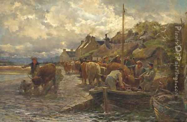 Loading the cattle, Isle of Skye Oil Painting - Charles James Adams