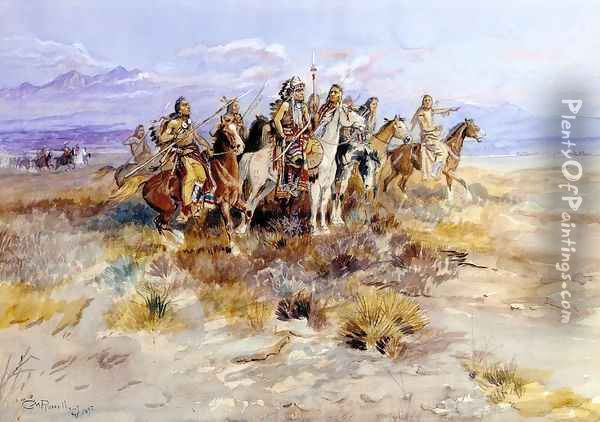 Indian Scouting Party Oil Painting - Charles Marion Russell