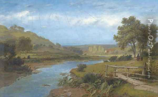 The walk home by the river; and Angling on the river Oil Painting - Charles Marshall