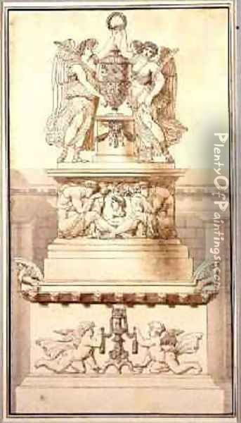Design for a Funerary Monument to a Roman General 1800 Oil Painting - Charles Pierre Joseph Normand