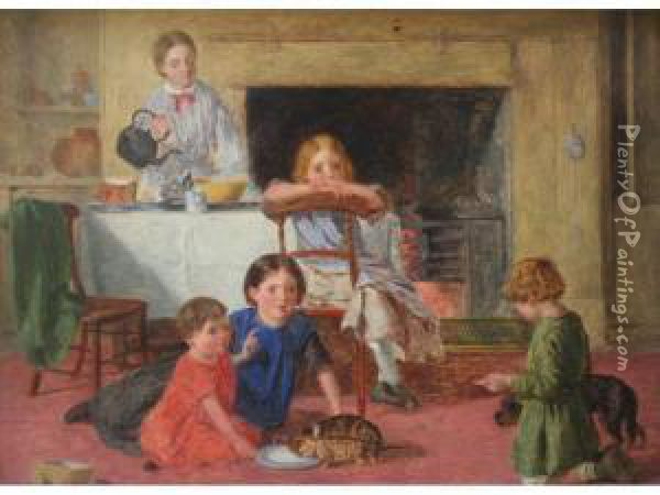Lunchtime For Everyone Oil Painting - Charles Rossiter