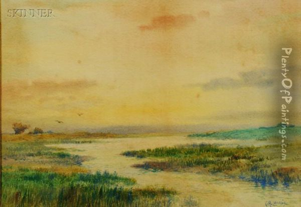 Lot Of Two Works: Marsh Landscape And Cottages Inspring Oil Painting - Charles Russell Loomis