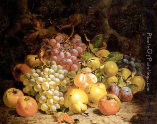 Still life of grapes, pears and apples 1873 Oil Painting - Charles Thomas Bale