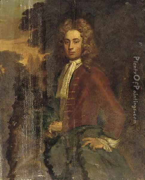 Portrait of a gentleman, three-quarter-length, in a brown jacket and green wrap Oil Painting - Charles d' Agar