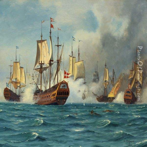 The Battle Of Koge Bay Oil Painting - Chr. Mollgard