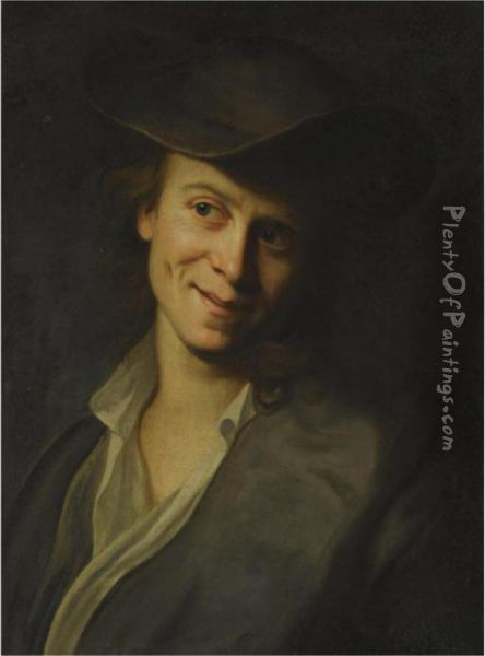 Portrait Of A Boy With Long Hair, Half-length, Wearing A Brownhat Oil Painting - Christian Seybold