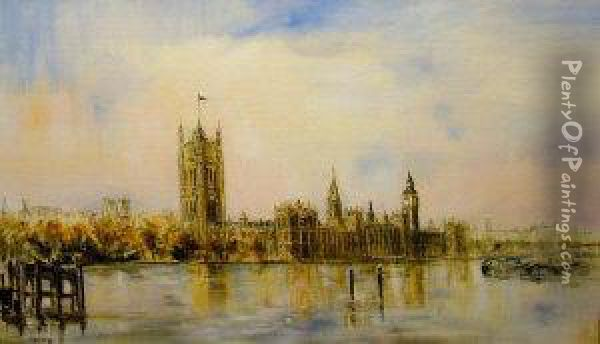The Houses Of Parliament Oil Painting - Clara Taggart Mcchesney