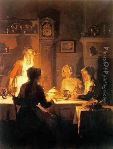 The Evening Meal c.1900 Oil Painting - Claude Joseph Bail
